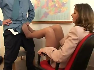 cumshot, brunette, fetish, foot fetish, footjob, office