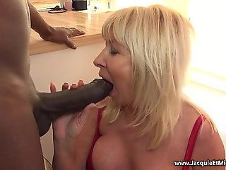 mature, blonde, facial, interracial, big tits, big cock