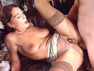 brunette, anal, facial, lingerie, big natural tits, big cock